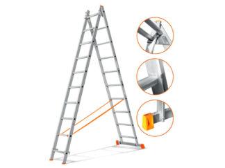 «Эйфель» Гранит 2х10 Двухсекционная лестница