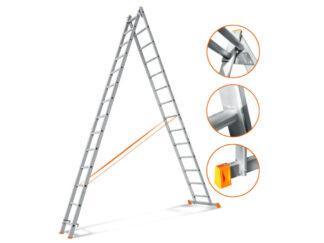 «Эйфель» Гранит 2х14 Двухсекционная лестница