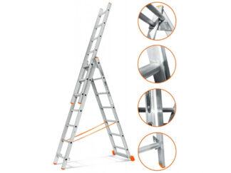 «Эйфель» Гранит 3х7 Трехсекционная лестница